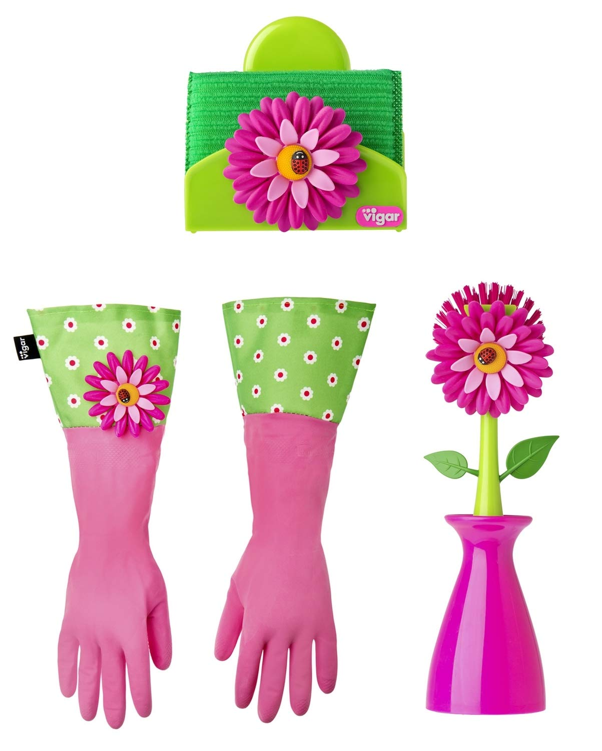 Vigar Flower Power 3-Piece Dishwashing Set, Includes Dish Brush with  Holder, Sponge with Holder and Latex Dish Gloves with Extra Long Cuff, ...