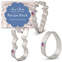 Ann Clark Cookie Cutters Easter Fun Cookie Cutter Set with Recipe Booklet - 3 Piece - Easter Bunny, Egg and Carrot - USA Made Steel