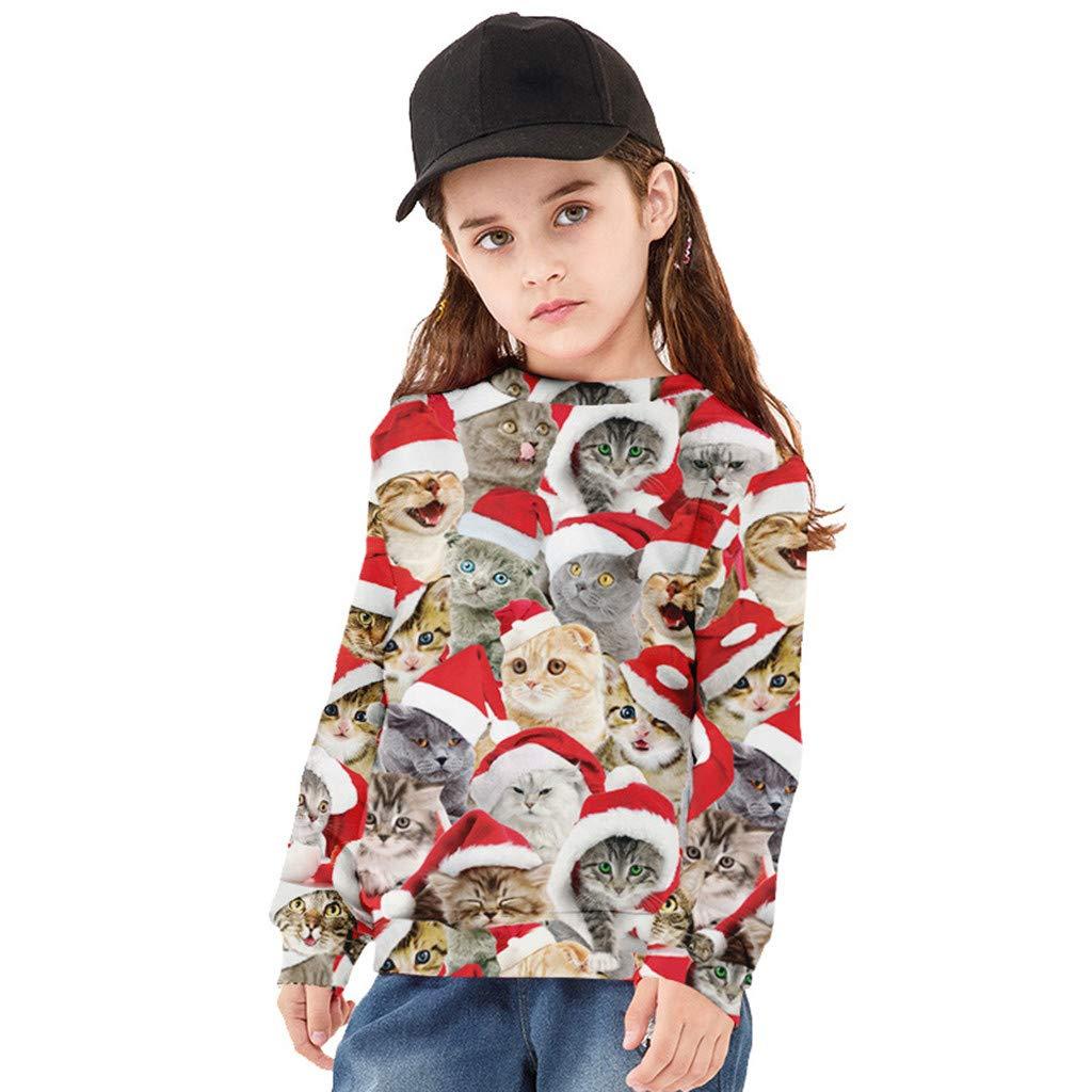 Webla Sweat-Shirt Gar/çon Filles Animale Chat de No/ël 3D Imprim/é Cartoon Adolescent Enfant Unisexe Sweat Tops de Autumne Hiver 7-14 Ans