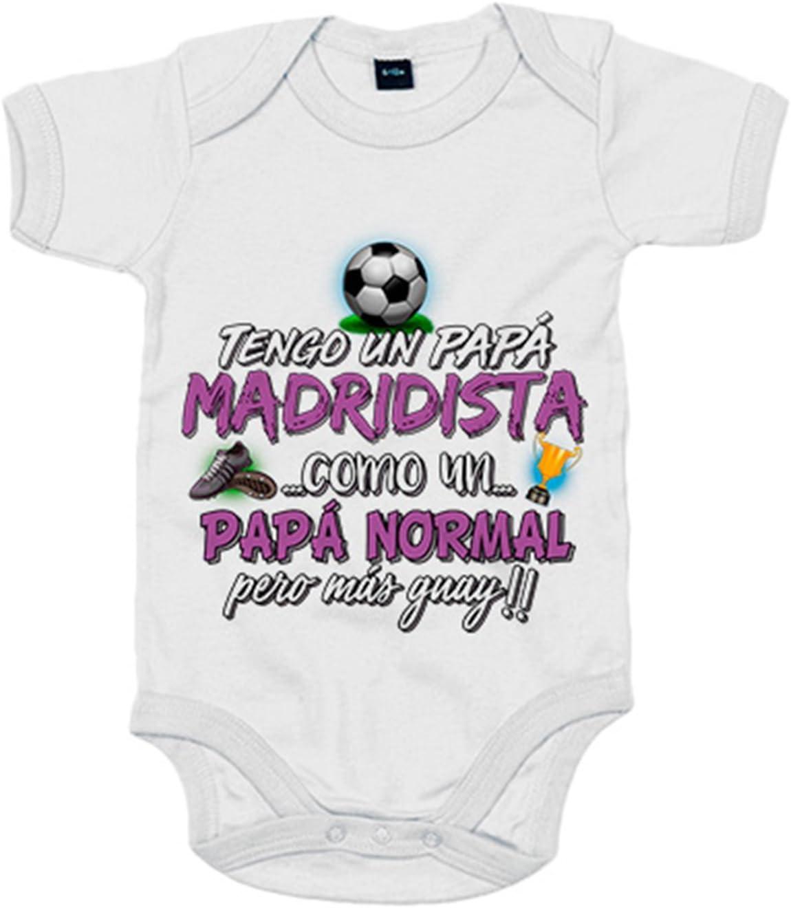 Body beb/é tengo un pap/á Madridista como un pap/á normal pero m/ás guay Amarillo 12-18 meses