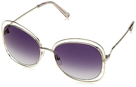 fa9b6de1baf Chloe Carlina Metal Constructed Square Sunglasses in Gold Light Grey CE119S 734  60 60 Gradient Grey