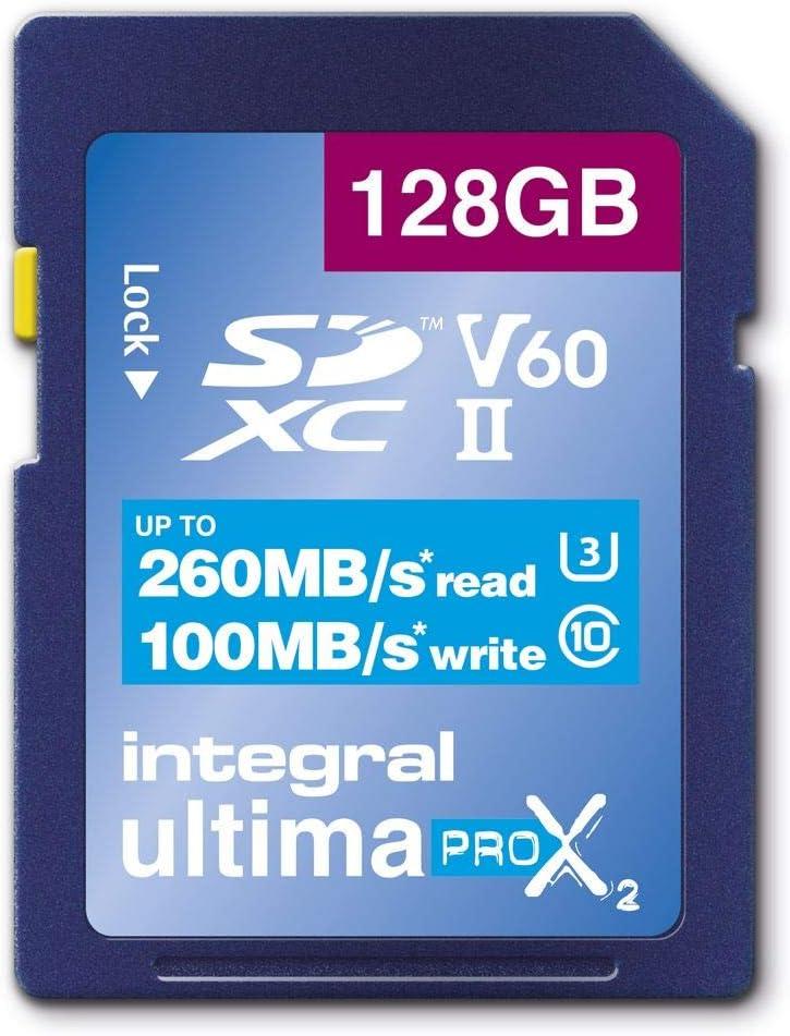 UHS-II 360 3D V60 Integral Memory 128GB UltimaPro X2 Ultra High Speed SD Memory Card up to 260MB//s Reading 8K Video Recording 4K Class 10 U3 100MB//s Writing