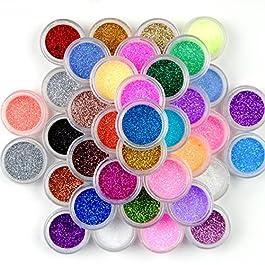 Surepromise Mix Colors Eyeshadow Makeup Nail Art Pigment Glitter Dust Powder Set (45 colors)