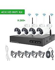 Kit Camaras de Vigilancia WiFi Aottom 720P Sistemas Camaras de Seguridad, 4CH 1080P NVR+ 4 x 1MP IP Cámaras Inalámbrica, Visión Nocturna, Detección de Movimiento, P2P, IP66 sin HDD
