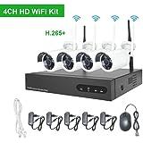 1080P Kit Sorveglianza WiFi Aottom 4 Canali Kit Videosorveglianza WiFi Esterno, 4 x 2MP Telecamere+1x1080P WiFI NVR, Sistema Videosorveglianza WiFi, Visione Notturna, Motion Detection, senza HDD