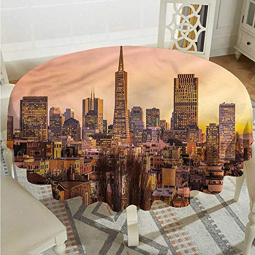 (Tim1Beve USA Tablecloth for Kids/Childrens Sunset Skyline of Downtown SF High-end Durable Creative Home D50)