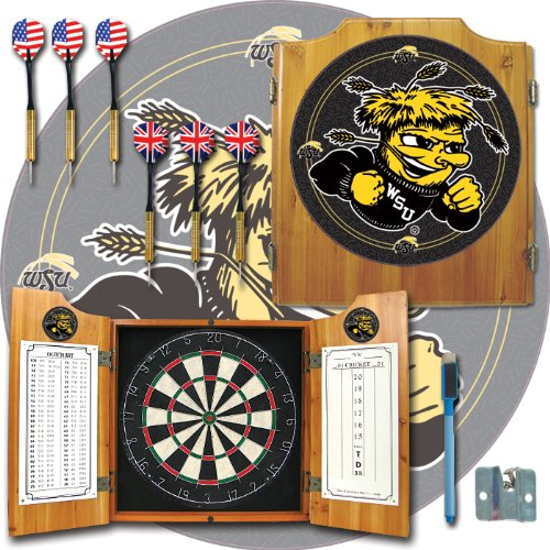 NCAA Wichita State U dart cabinet - Includes Darts and Board by Trademark Global