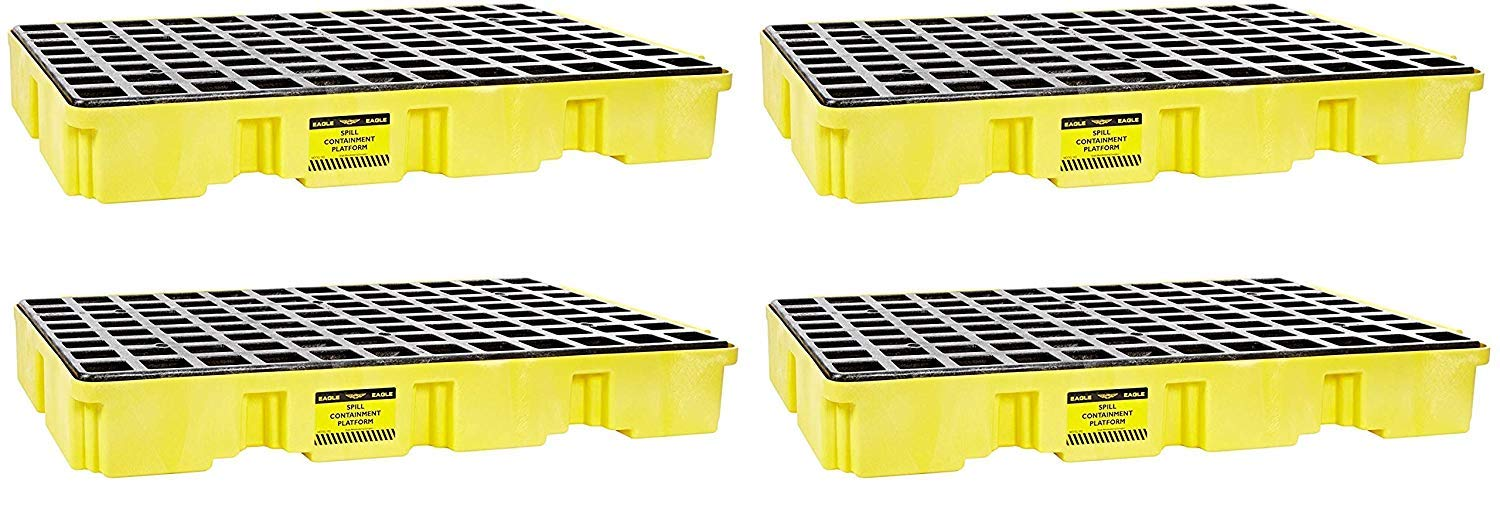 Eagle 1632 Yellow and Black Polyethylene Two Drum Modular Platform with Flat Top Grating, 5000 lbs Load Capacity, 18'' Length, 43'' Width, 44'' Height (Pack of 4)