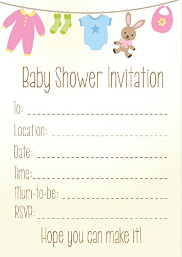Pack of 8 baby shower invitations amazon kitchen home pack of 16 a6 baby shower invitations neutral filmwisefo
