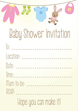 Pack of 16 A6 Baby Shower Invitations Neutral Amazoncouk Office
