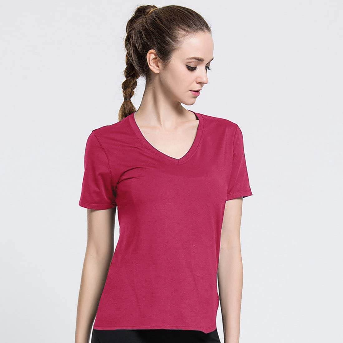 jeansian Mujer Yoga Pilates Deportiva Workout Camisetas T-Shirt Breathable Tops SWT240