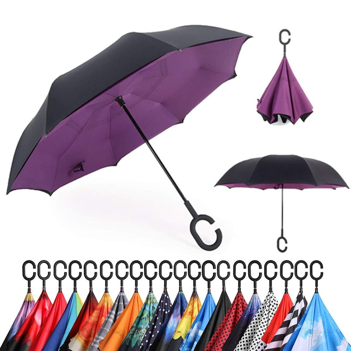 Smart Brella - The World's First Reversible Umbrella (Purple) | Double Layer Inverted Umbrella Cars Reverse Open Folding Umbrellas | C Hook for hanging on points