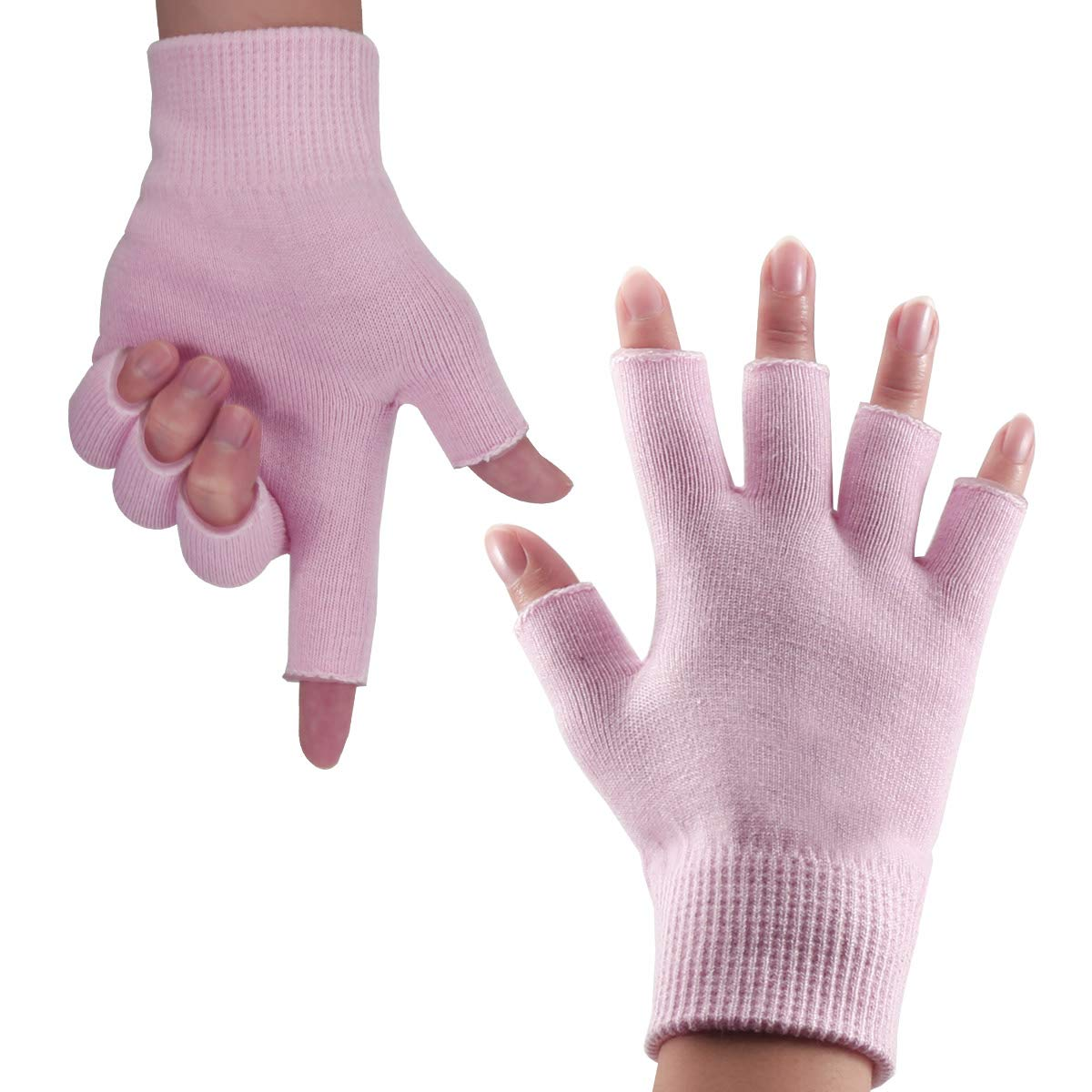 Happon Gel Moisturizing Spa Gloves Fingerless Pink Women's Gel Moisturizing Gloves Day Night Instantly Repair Eczema Dry Rough and Cracked Hands : Beauty