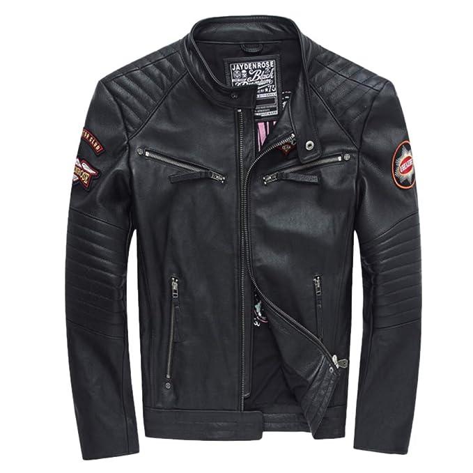 QQWE Chaqueta De Cuero Genuino para Hombre Patrón Bordado Stand Collar Bomber Chaquetas Abrigos Chaqueta De Moto Jumper Prendas De Vestir Exteriores: ...