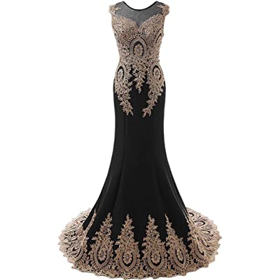 Kivary Women's Gold Lace Sexy Mermaid Sheer Formal Corset Prom Evening Dresses