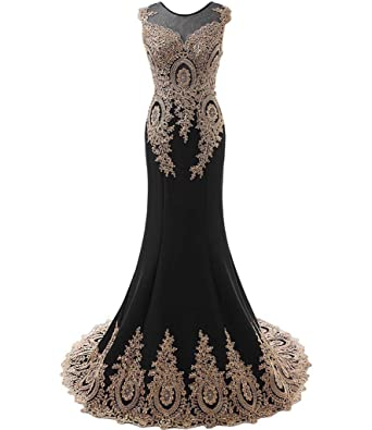 Kivary Womens Gold Lace Sexy Mermaid Sheer Formal Corset Prom Evening Dresses Black ...