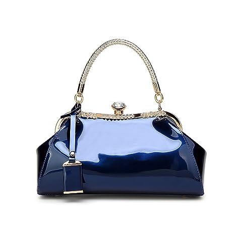 Coolives Correa de Hombro Larga Claro Bolso de Mano Mango Tejido Dorado  para Mujer Azul Real 2fe62d6a6cc3
