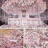 CEWOR 4pcs Artificial Cherry Blossom Flower Vines