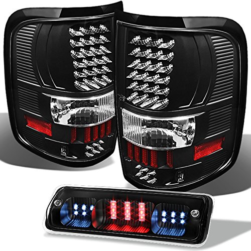 For [LED Set] 04-08 Ford F150 Light Duty Truck Black Bezel Tail lights + 3rd Brake Lamp Set -