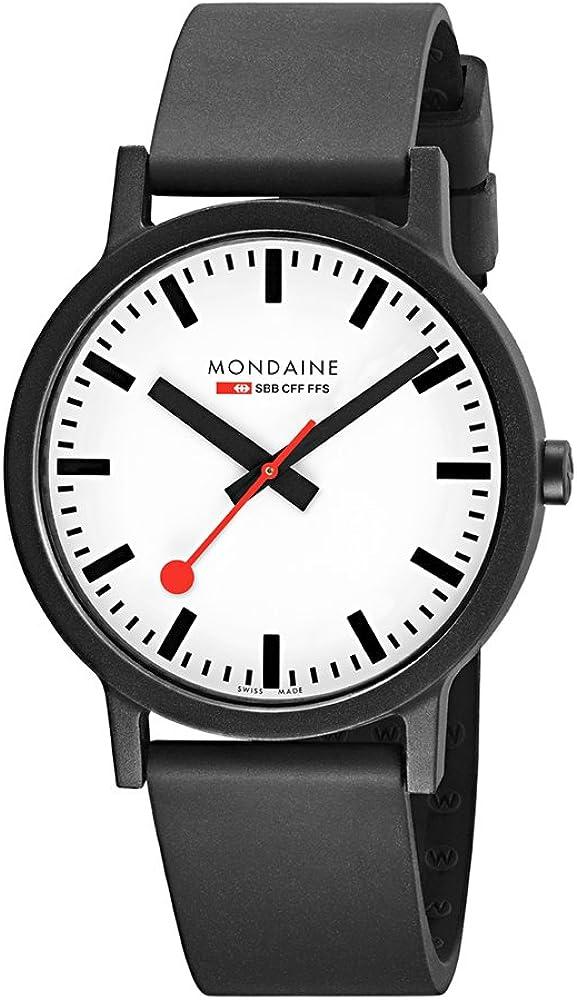 Mondaine Men s SBB Stainless Steel Essence Swiss Quartz Watch with Rubber Strap, Black Model MS1.41110.RB