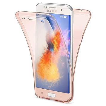 NALIA Funda 360 Grados Compatible con Samsung Galaxy S7 Edge, Delantera Trasera Protectora Movil Silicona Carcasa, Ultra-Fina Gel Transparente Doble ...