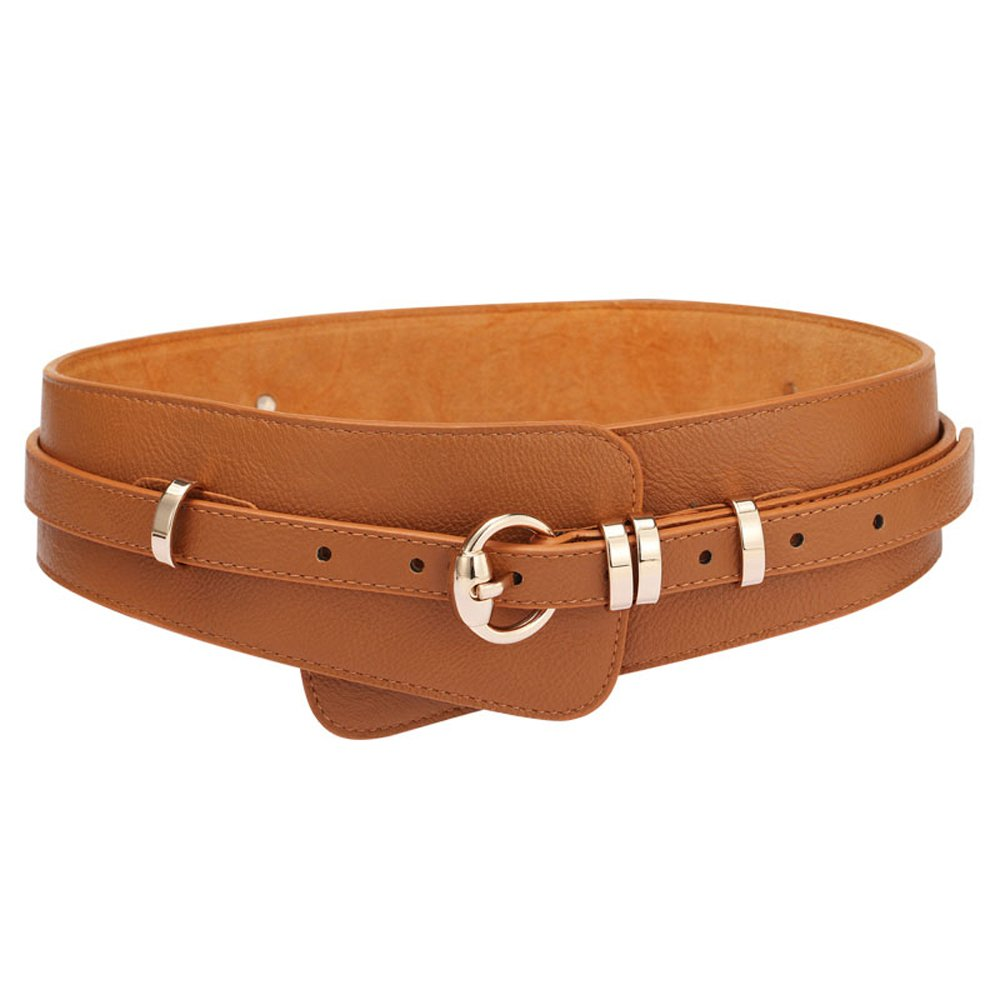 Orinery Solid Genuine Leather Belt For Women Fashion Wide Waistband (Brown)
