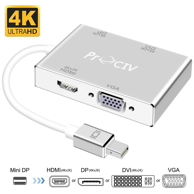 Mini DisplayPort to HDMI DVI DP 4K VGA Adapter, Mini DP Thunderbolt Adapter Converter for MacBook Air/MacBook/MacBook Pro/Surface Pro/Surface Book/ThinkPad by ProCIV