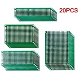 Aihasd 20PCS lateral doble 5x7 4x6 3x7 2x8CM de circuito impreso PCB Prototipos Vero Junta de Gaza Track