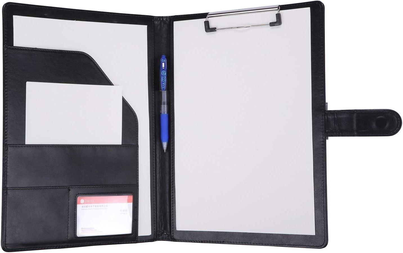 JEBBLAS Folder A4 Clipboard Folder Conference Folder for Legal Pad Faux Leather Folder Work Writing Foldover Clipboard with Cover Portfolio Organiser A4 Folio Clip Board