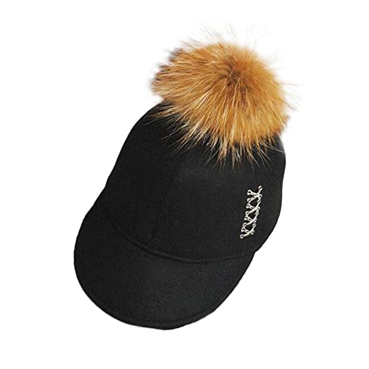 4a8bc5f9a15 FuzzyGreen Black Pompom Baseball Cap