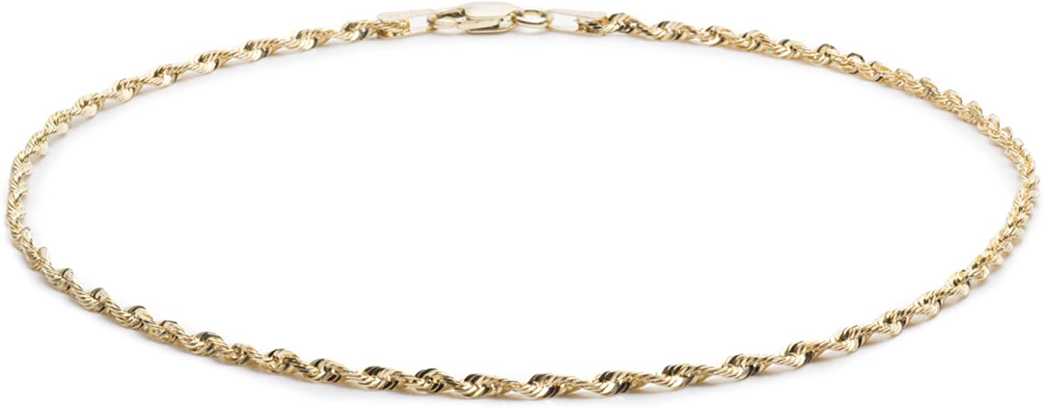 Floreo 10k Yellow Gold 2.25mm Solid Multi Diamond Cut Rope Chain Bracelet and Anklet