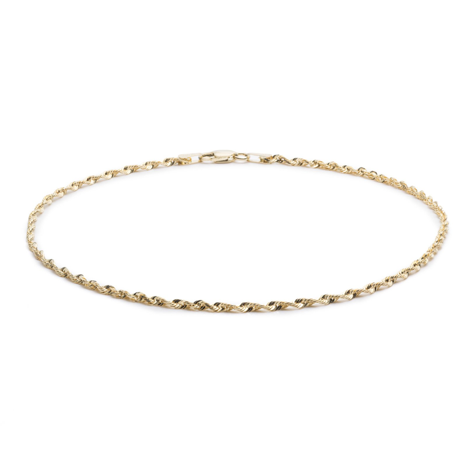 9 Inch 10k Yellow Gold Solid Extra Light Diamond Cut Rope Chain Anklet for Women and Girls, 2.5mm
