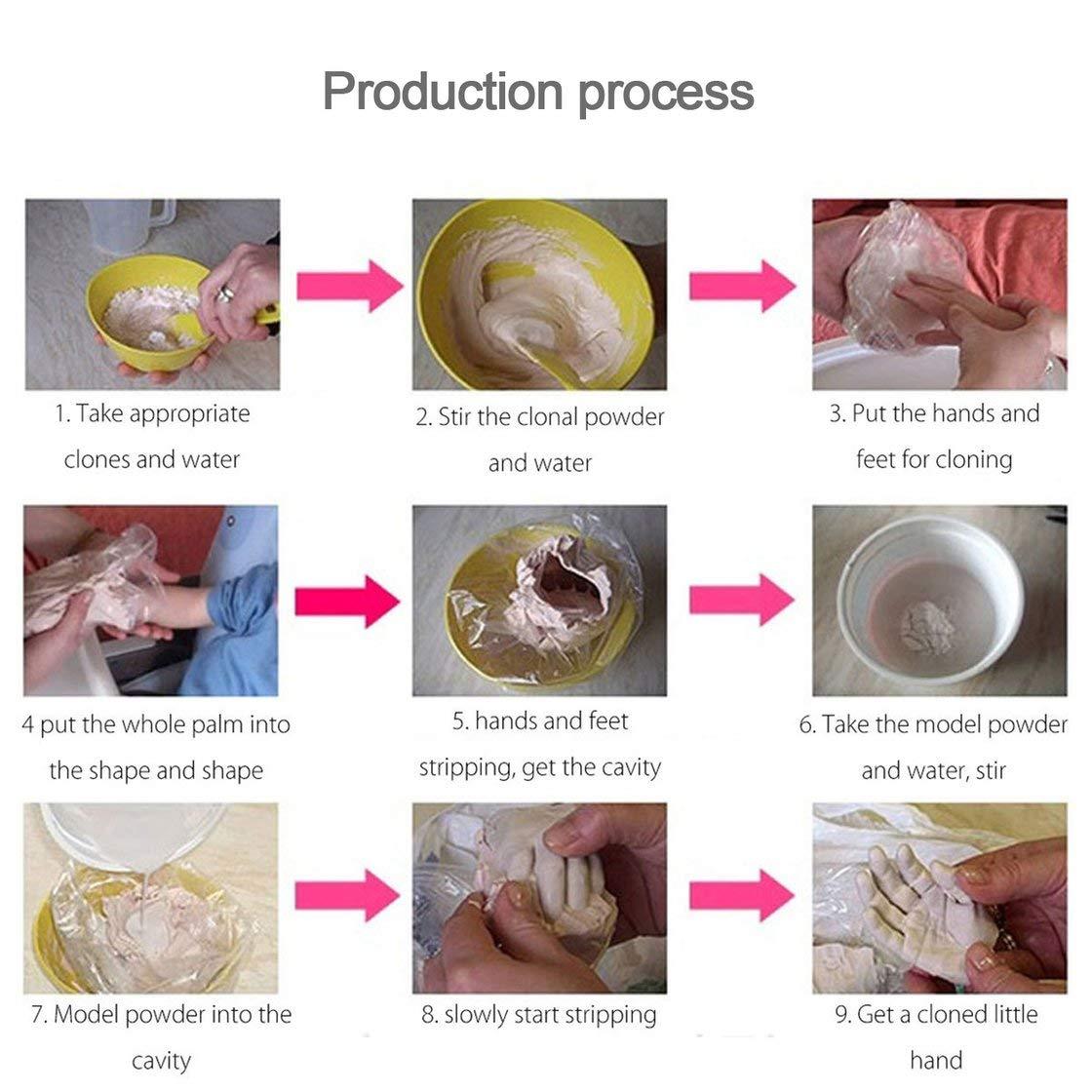 Yeso 3D huellas de las manos de moldeo Clon en polvo para ni/ños huellas de la mano del beb/é y pie de fundici/ón proceso de consolidaci/ón Mini Kit de Seguridad