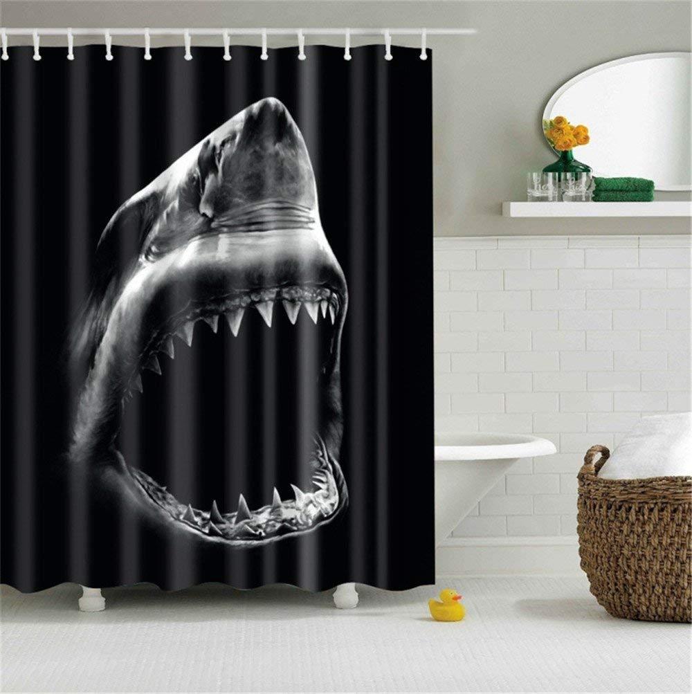Black Shark Cool Shark with Sharp teeth Black Base Bathroom Shower Curtain Decor Art Prints Waterproof Polyester