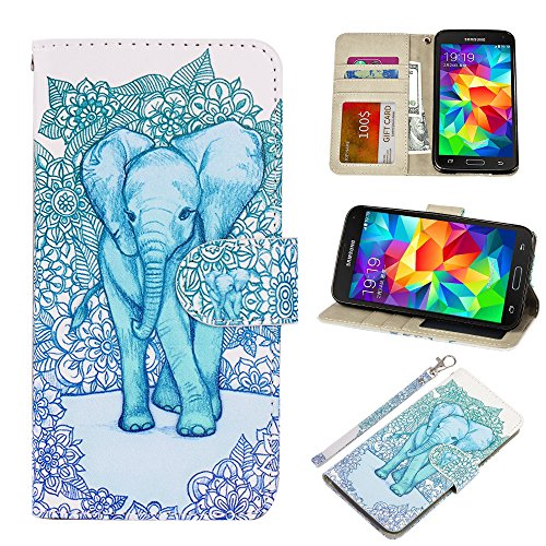S5 Case, UrSpeedtekLive Galaxy S5 Wallet Case, Premium PU Leather Wristlet Flip Case Cover with Card Slots & Stand Compatible Samsung Galaxy S5, Elephant
