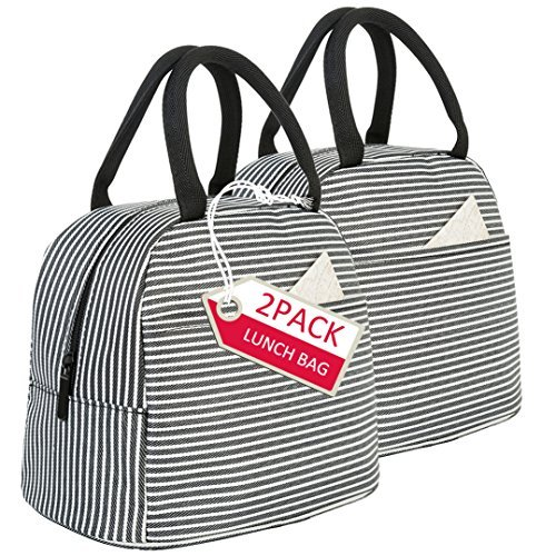 Lunch Bag 2 Pack Reusable Insulated Lunch Box Tote Bags-Lunch Container Organizer Cooler Bento Bag for Work,Travel,Picnic