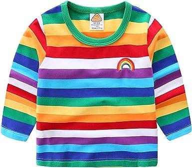 Vobony Camiseta Manga Larga Niños Niñas Arco Iris Raya Camiseta Termica Sudadera de Algodón Camisa Manga Larga Sudadera Sweatshirt: Amazon.es: Ropa y accesorios