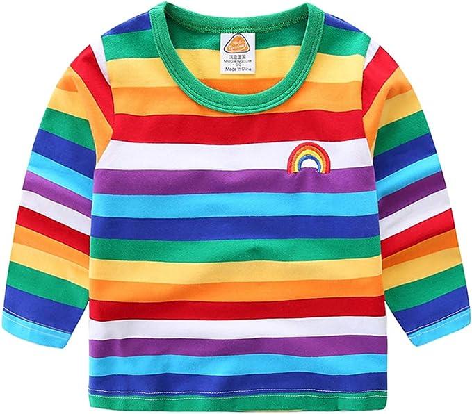 Vobony Camiseta Manga Larga Niños Niñas Arco Iris Raya Camiseta ...
