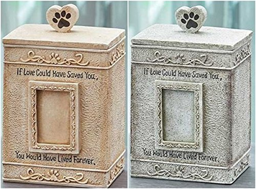 Aboveboard Lifestyles Urns for Dogs Cats Pet Memorial Picture Frame Keepsake Box (Cream)
