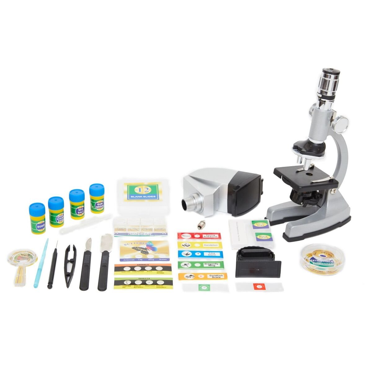 Microscope Kit with Metal Arm and Base, 6 Magnifications from 50x to 1200x, Includes 86-Piece Accessory Set and Case, Best Top Pick of Microscopes For Beginners (5 Bonus Animal/Plant sides)