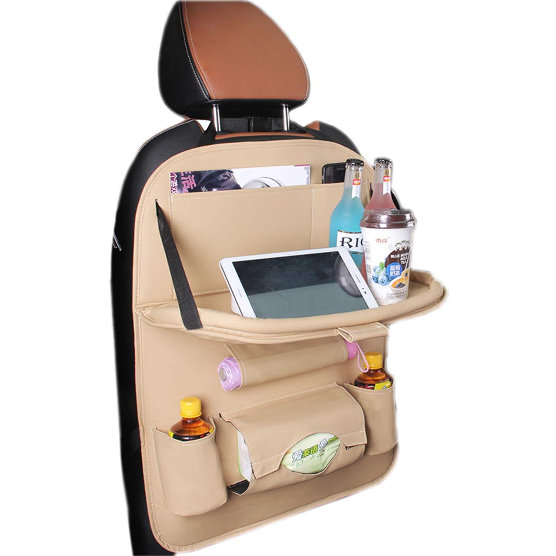 tqgold Auto Organizer Auto-Rückenlehnenschutz mit Faltbare Tablet Halter, Multi-Tasche für Baby Kinder Reise Tägliche Gebrauch,Kick Matten Schutz Beige 1150815003