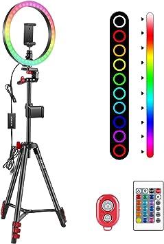 Comprar Neewer 10 Pulgadas RGB Anillo Luz Selfie Luz Anillo con Soporte para Trípode y para Teléfono Control Remoto por Infrarrojos 16 Colores Regulables y 4 Modos de Flash para Maquillaje YouTube Tiktok etc.