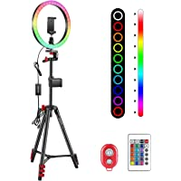 Neewer 10 tums RGB-ringlampa selfieljusring med stativstativ och telefonhållare, infraröd fjärrkontroll, dimbar 16…