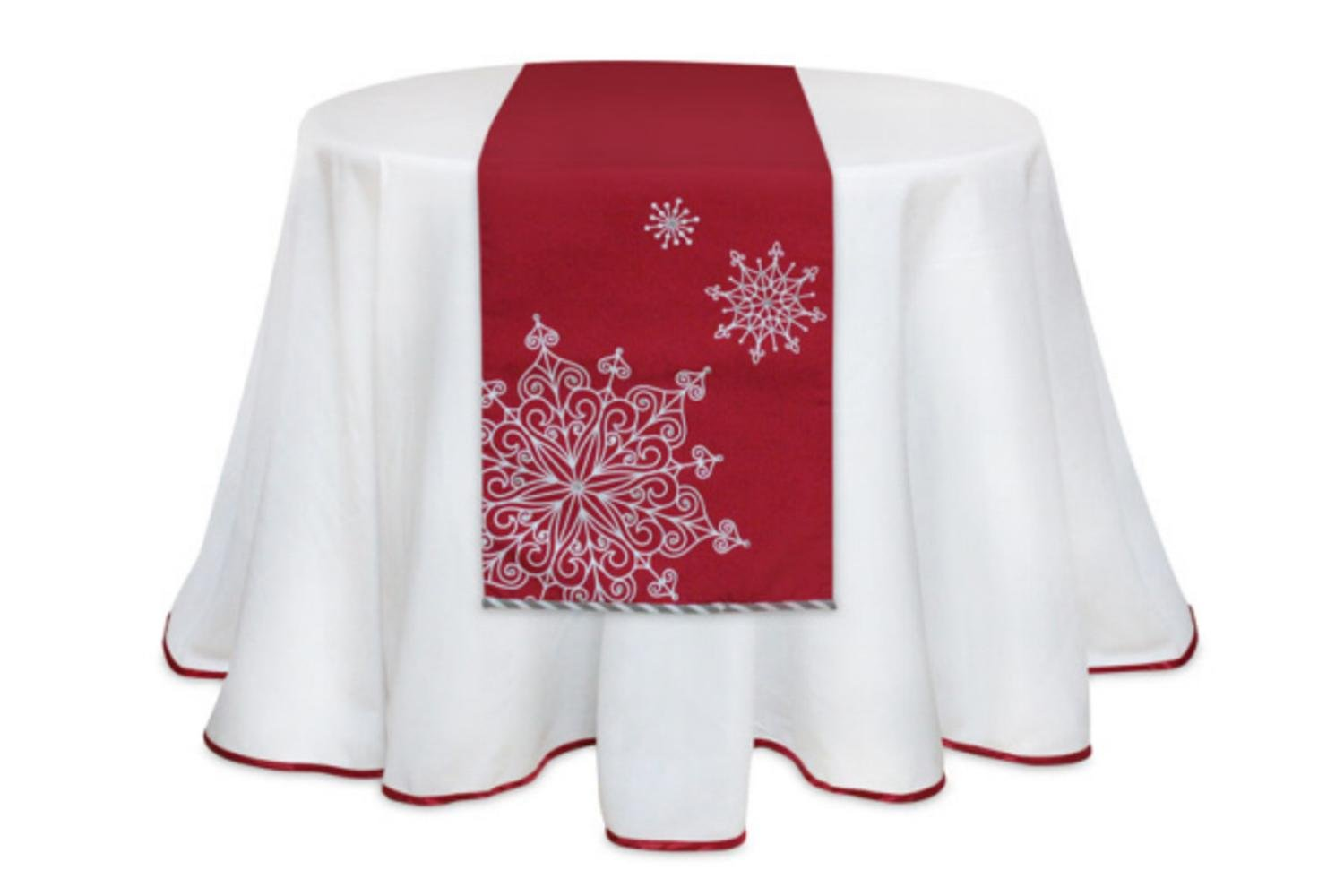 Red and White Snowflake Christmas Table Runners Set of 2 | ChristmasTablescapeDecor.com