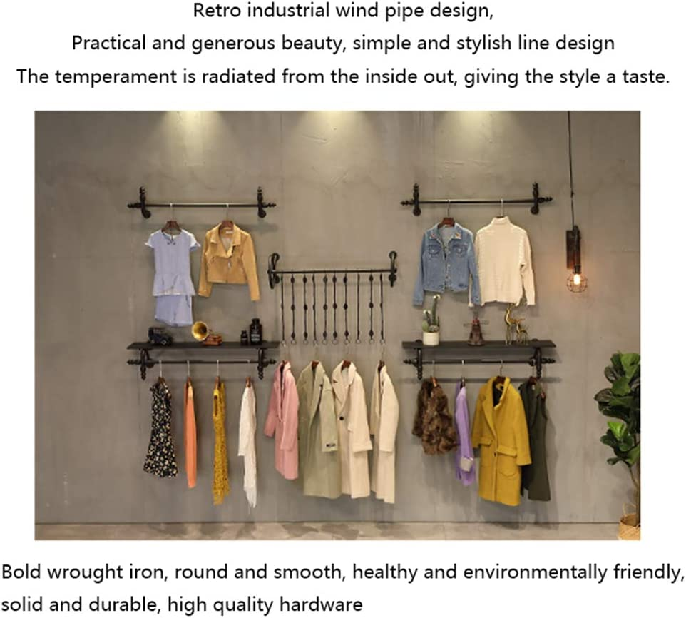 Commercial Clothing Display Rack Combination for Clothing boutiques//Retail Clothing Racks ZDDAB Heavy Metal Clothing Store Display Stand Industrial Pipe Wall-Mounted Clothing Rack