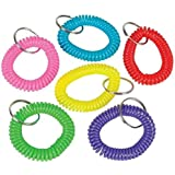 12 Coil Bracelet Keychains (2 each of 6 different colors!)