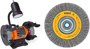 WEN 4276 2.1-Amp 6-Inch Bench Grinder with Flexible Work Light & DEWALT Wire Wheel for Bench Grinder, Crimped, 6-Inch (DW4905)