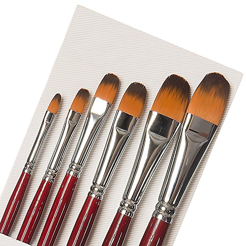 Professional Artist Paint Brushes-Set of 6-Filbert Golden Synthetic Nylon Bristles for Oil-Acrylic painting Watercolors-Gouache-Face Painting-Art Students-Long Well Balance Handled-Durable (Bristle Filbert Synthetic)