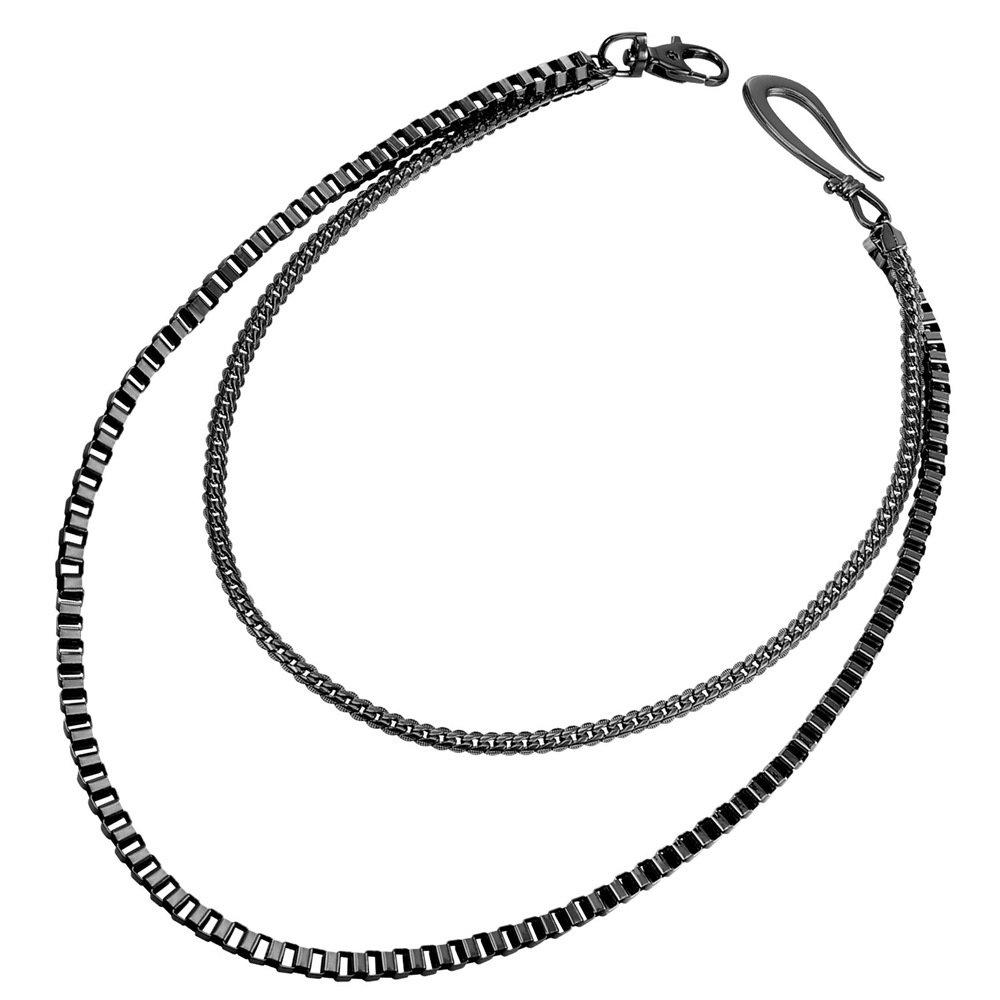 U7 Men Cool Box Snake Chain Punk Trouser Long Wallet Key Chain - Black