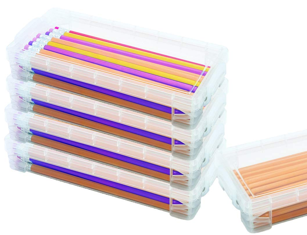 1InTheoffice Pencil Box, Stackable Translucent Clear 8.25 x 1.5 x 4 Inches, (4 Pack) by 1InTheOffice